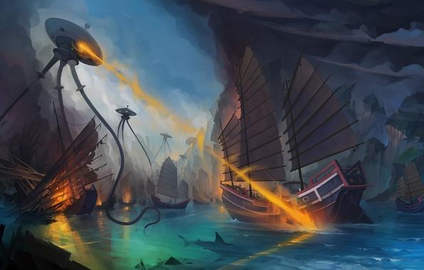 Picture sea, fantasy, fiction, ship, robots, art, aliens