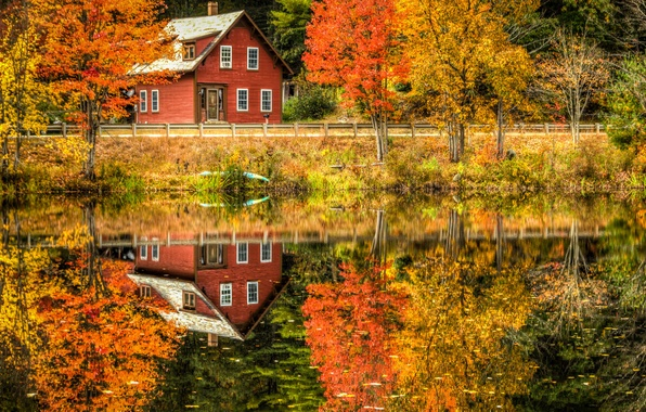 Picture road, autumn, forest, leaves, trees, landscape, reflection, river, Villa, home, Nature, house, forest, Nature, architecture, …