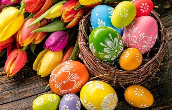 Picture flowers, eggs, spring, Easter, tulips, flowers, tulips, spring, Easter, eggs, decoration, Happy