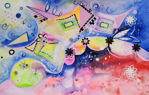 Picture flowers, figure, squares, watercolor, figure