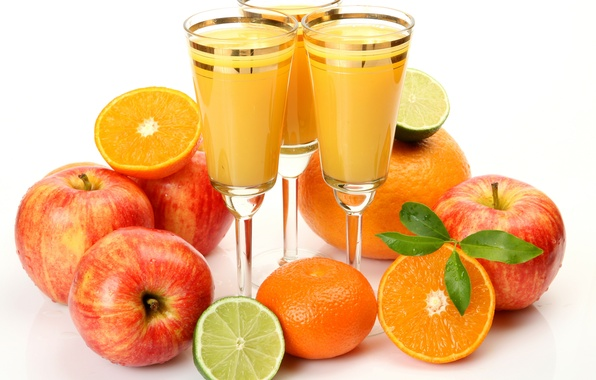Picture leaves, apples, oranges, glasses, juice, lime, fruit