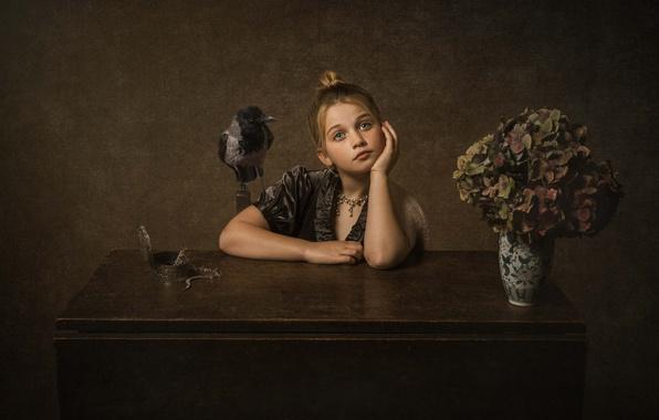 Picture decoration, flowers, background, mood, bird, bouquet, girl, box, vase, crow, hydrangea, dreamer