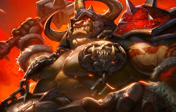 Picture hammer, art, WoW, World of Warcraft, Ogre, Hearthstone, Blackrock Mountain, Highlord Omokk, Chief Amock
