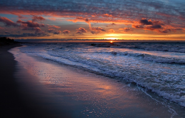 Picture sand, sea, wave, beach, the sky, water, the sun, clouds, landscape, sunset, shore