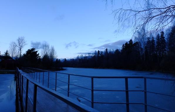 Wallpaper ice snow the evening twilight gloomy bridge