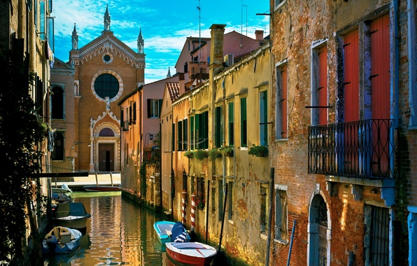 Picture water, street, home, old, boats, Italy, Venice, channel, Italy, gondola, Venice