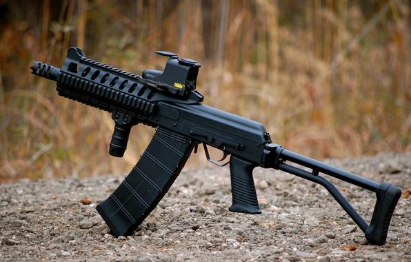Picture grass, the gun, gravel, self-loading, Saiga-12, smoothbore