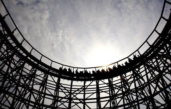 Picture the sky, attraction, riding, roller coaster