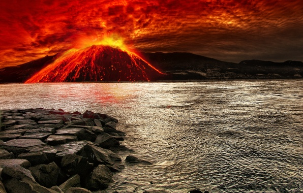 Picture sea, the sky, stones, element, bursts, the volcano, the eruption, lava, bloody, current
