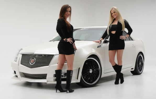 Picture Girls, blonde and brunette, two beautiful girls, cadillac cts 2008, stand near the car