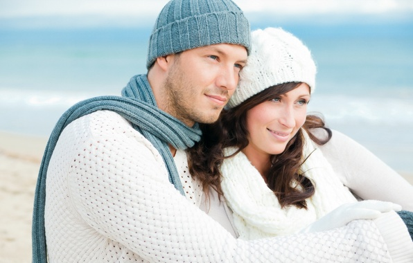 Picture beach, eyes, girl, love, smile, scarf, hugs, male, lovers, gently