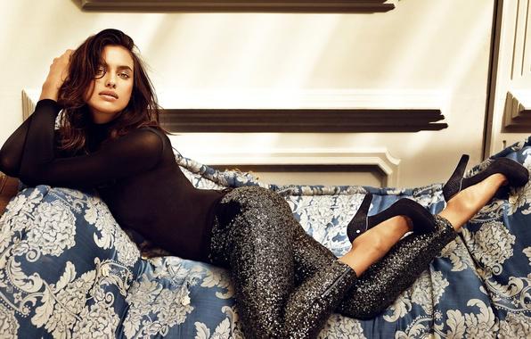 Picture girl, pose, model, brunette, shoes, Irina Shayk, Sheik, sequins, Irina Shayk, Shaykhlislamova, leggings, Shaykhlislamova