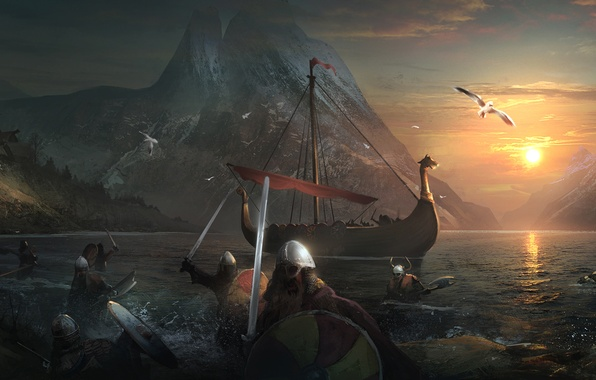 Picture sea, water, sunset, mountains, bird, ship, sword, the evening, attack, helmet, shield, warriors, vikings