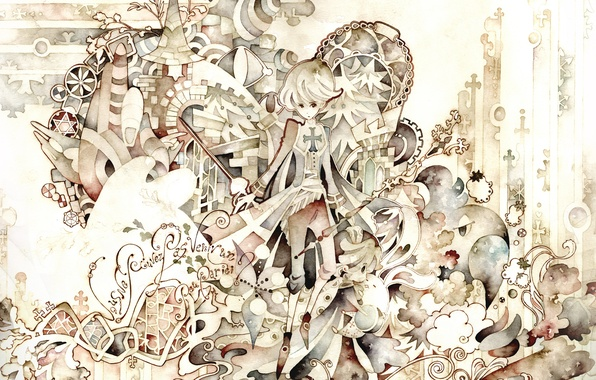 Picture text, figure, tale, cross, boy, sword, Watercolor