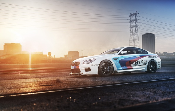 Picture white, sunset, bmw, BMW, railroad, white, side view, f13