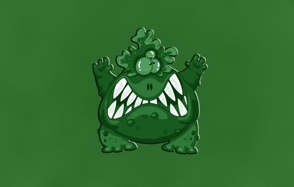 Picture green, green, monster, evil, monster, toothy, brodaway, the three-eyed