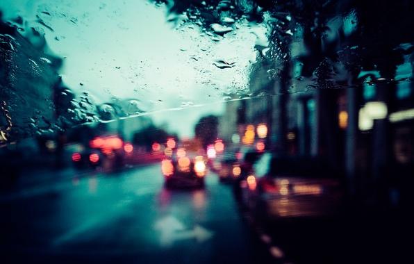 Picture glass, the city, rain, street, Paris