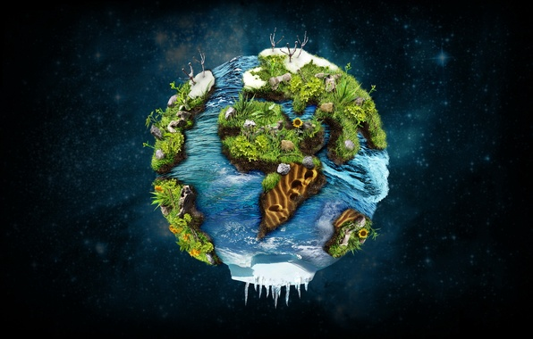 Picture space, earth, planet, plants, continents, continents