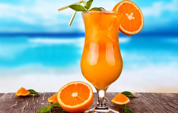 Picture ice, glass, oranges, juice, cocktail, drink, citrus, fresh