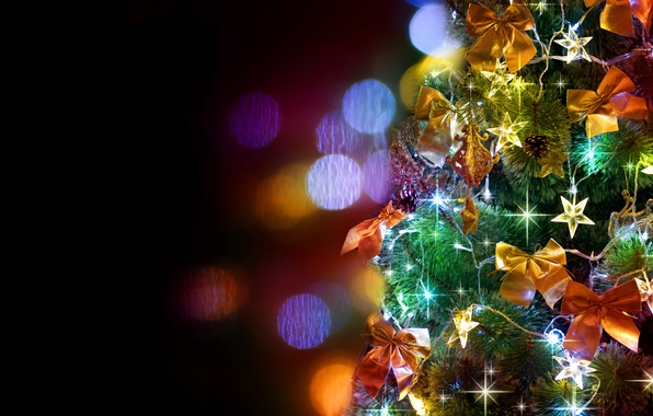 Picture decoration, holiday, stars, tree, bows