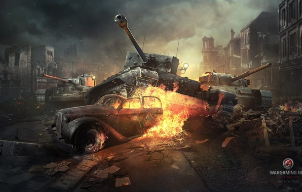 Picture the city, flame, war, smoke, the British, tanks, World of tanks, WoT, world of tanks, …