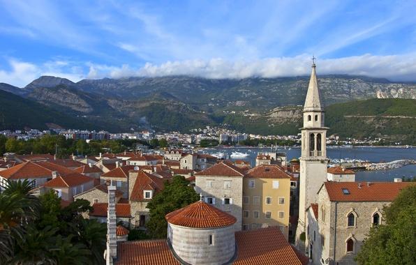 Picture the sky, clouds, mountains, building, Montenegro, Budva, Budva