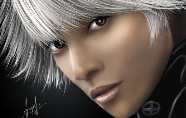 Picture girl, face, art, X-Men, white hair, Storm