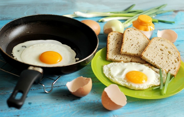 Picture food, eggs, Breakfast, bow, bread, scrambled eggs, shell, pan