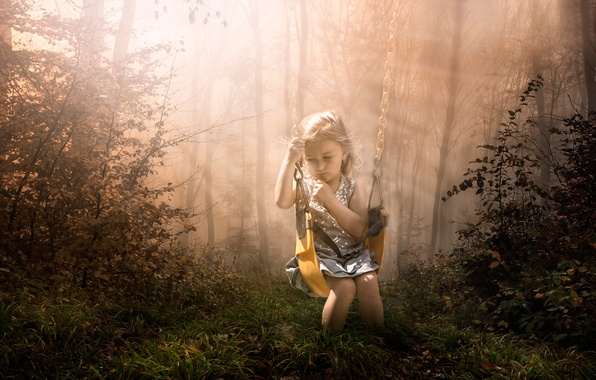 Picture sadness, forest, swing, art, girl