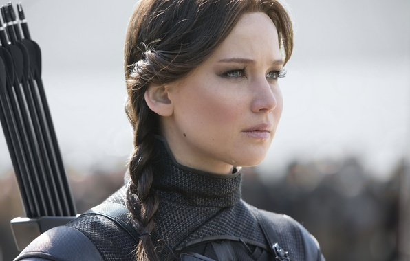 Picture fiction, frame, hairstyle, costume, arrows, pigtail, Jennifer Lawrence, Jennifer Lawrence, The Hunger Games: Mockingjay - ...