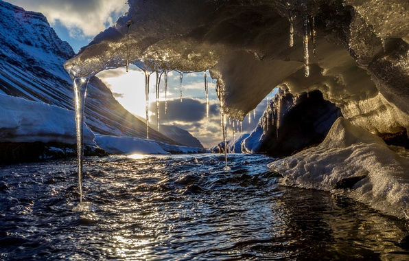 Picture winter, the sky, the sun, clouds, snow, mountains, river, ice, icicles