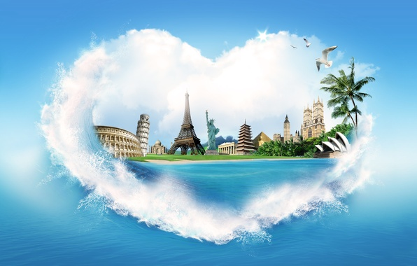 Picture sea, water, squirt, palm trees, creative, shore, heart, Eiffel tower, seagulls, pyramid, Colosseum, the statue …