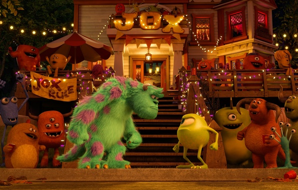 Picture night, lights, cartoon, monsters, party, company, garland, students, Academy of monsters, Monsters University, Inc., Monsters …
