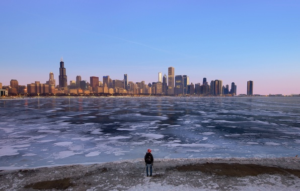 Picture City, Chicago, Downtown, Skyline, Sunrise, Morning