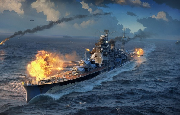 Picture The sky, Water, Clouds, Sea, Wave, Smoke, Aircraft, Fire, Ship, Light, Flame, Shot, Cruiser, Wargaming …