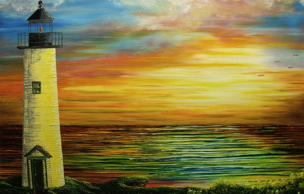 Picture sea, water, sunset, lighthouse, seagulls, painting, canvas