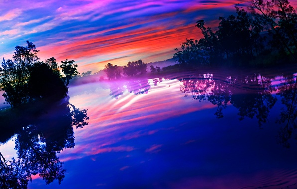 Picture the sky, clouds, trees, sunset, lake, reflection, river, ruffle, glow