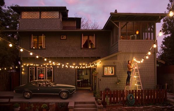 Picture machine, girl, lights, house, the evening, lighting, garland, lanterns, photographer, Ryan Schude, hangs