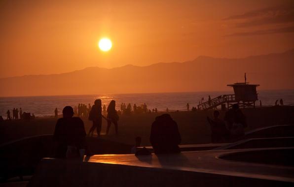 Picture summer, california, ocean, sunset, usa, los angeles, venice beach