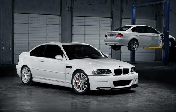 Picture white, bmw, BMW, white, workshop, lift, e46
