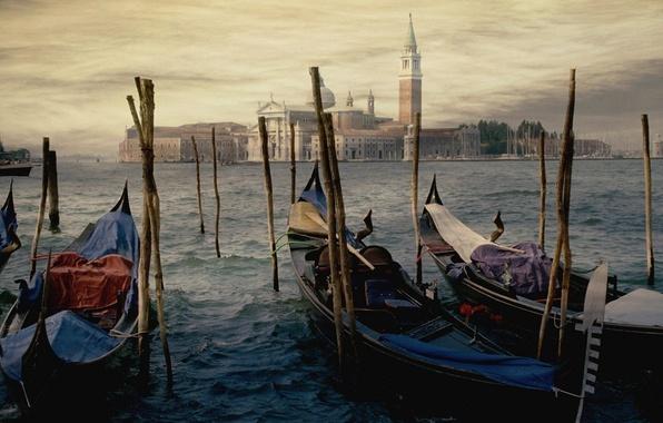 Picture water, the city, shore, figure, building, picture, pier, Venice, facilities, art, gandoli