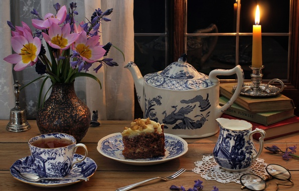 Picture flowers, style, books, candle, glasses, the tea party, tulips, cake, set