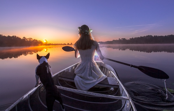 Picture girl, sunset, river, boat, dog, the evening, paddle