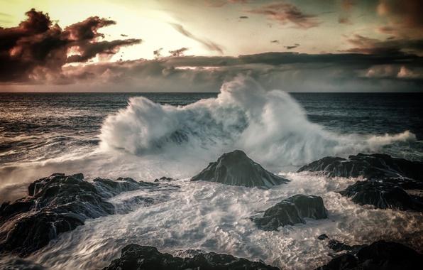 Picture stones, the ocean, wave, surf, Spain, Spain, Canary Islands, Canary Islands, The Atlantic ocean, Gran …