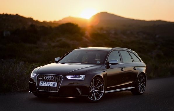 Picture road, sunset, Audi, Audi, sunset, rs4