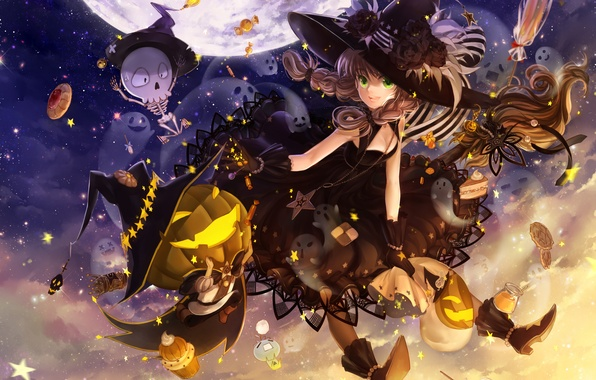 Picture the sky, night, holiday, the moon, hat, anime, art, candy, skeleton, girl, pumpkin, witch, broom, …