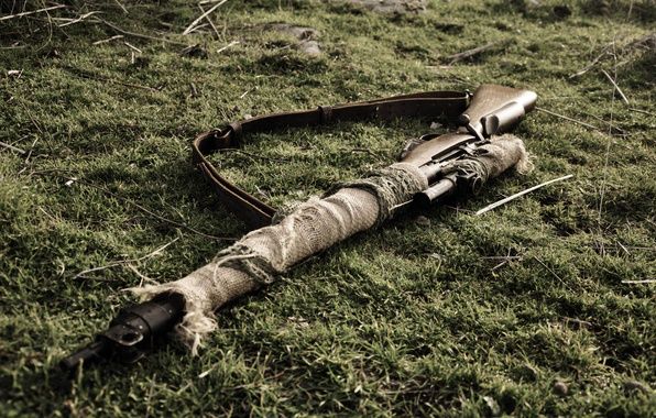 Picture grass, weapons, strap, rifle, sniper, Lee-Enfield, Lee-Enfield