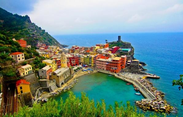 Picture sea, the city, photo, coast, home, Italy, top, Cinque Terre