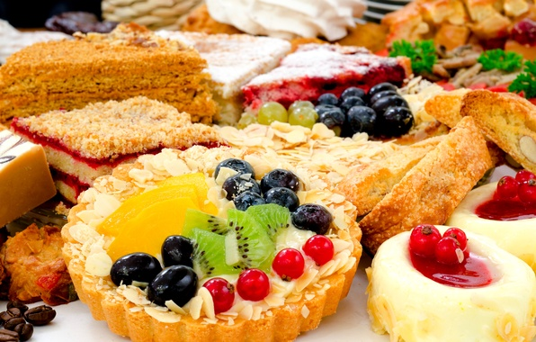 Picture berries, kiwi, grapes, cake, fruit, dessert, currants, cakes, sweet, cakes, tartlet