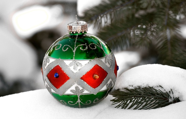 Picture snow, tree, new year, Christmas, ball, decoration
